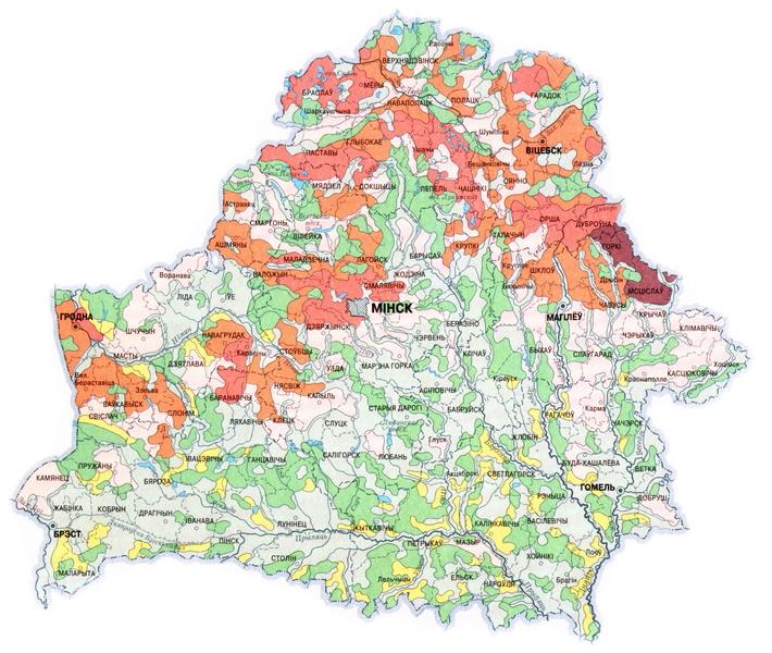 Почвенно-эрозионная карта Республики Беларусь, разработанная Институтом почвоведения и агрохимии