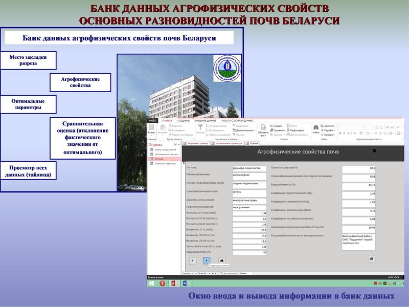 Банк данных агрофизических свойств основных разновидностей почв Беларуси. Исследования Института почвоведения и агрохимии 2015 г.
